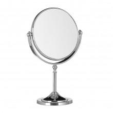 Specchio girevole 360° due lati piedistallo base alluminio trucco cosmetica