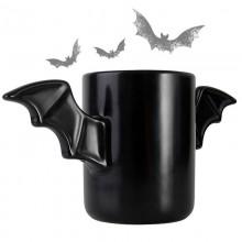 Tazza alata pipistrello bat mug colazione manici ali pipistrelli nera ceramica