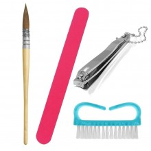 2Kit pulizia unghie lima pennello tagliaunghie spazzola igiene manicure pedicure