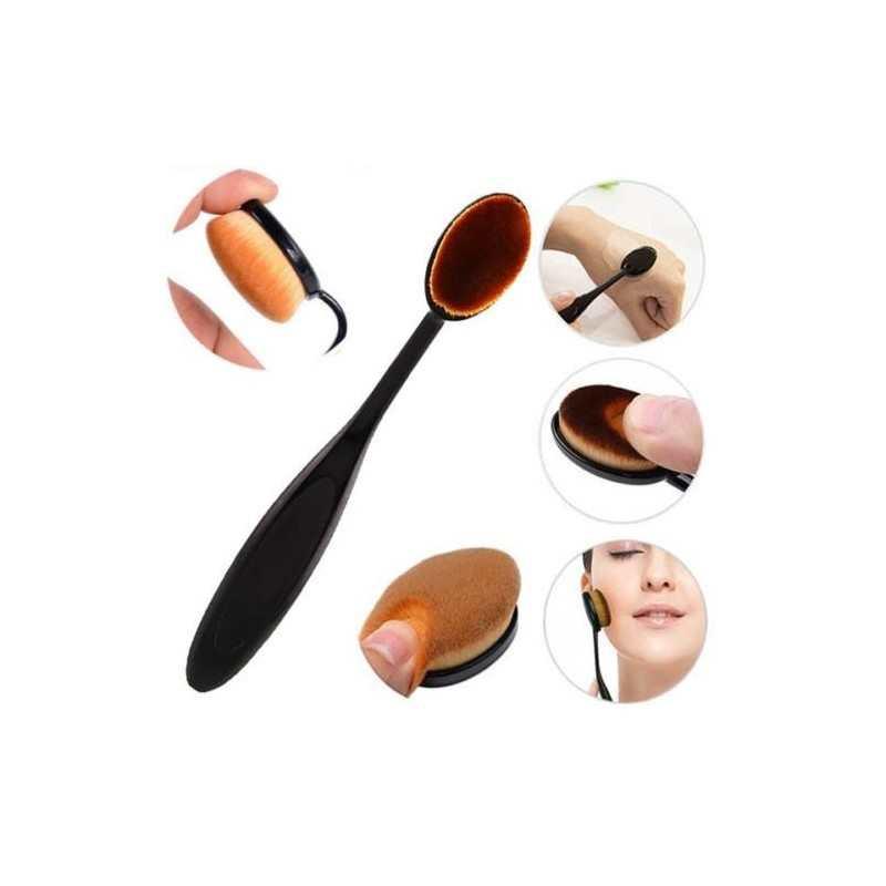 2x Pennello ovale morbido fondotinta liquido polvere manico comodo flessibile