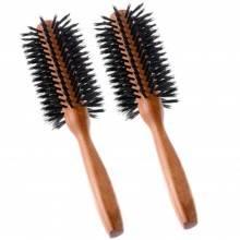 2 Spazzole setole nere spazzola rotonda piega phon parrucchiere circolare legno