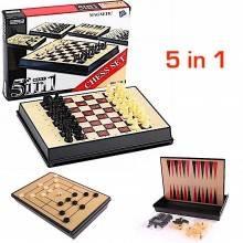 Mini Scacchiera scacchi chess set dama gioco 5 in 1 pieghevole backgammon
