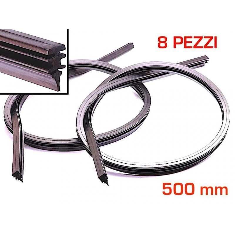 8 Gommini spazzole Tergicristallo gomma auto ricambio 500 mm misura