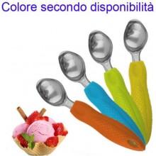 2x Cucchiaio gelato coppette cono acciaio scovolino palline gelateria casa