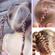 5 pacchetti mini elastici capelli colorati bambine treccine braccialetti