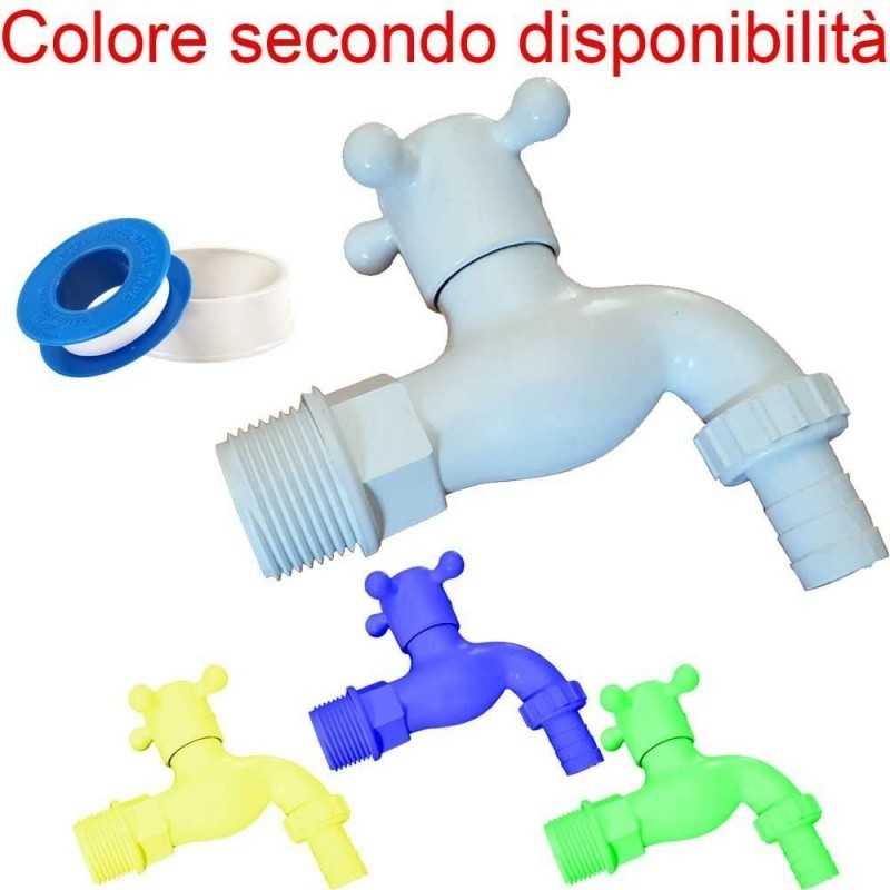 Rubinetti Da Giardino In Plastica.2x Rubinetto Plastica Impanatura Maschio Rotolo Teflon Guarnizione