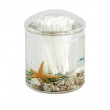 Contenitore cotton fioc coperchio mare acqua bastoncini cotonati bagno plastica