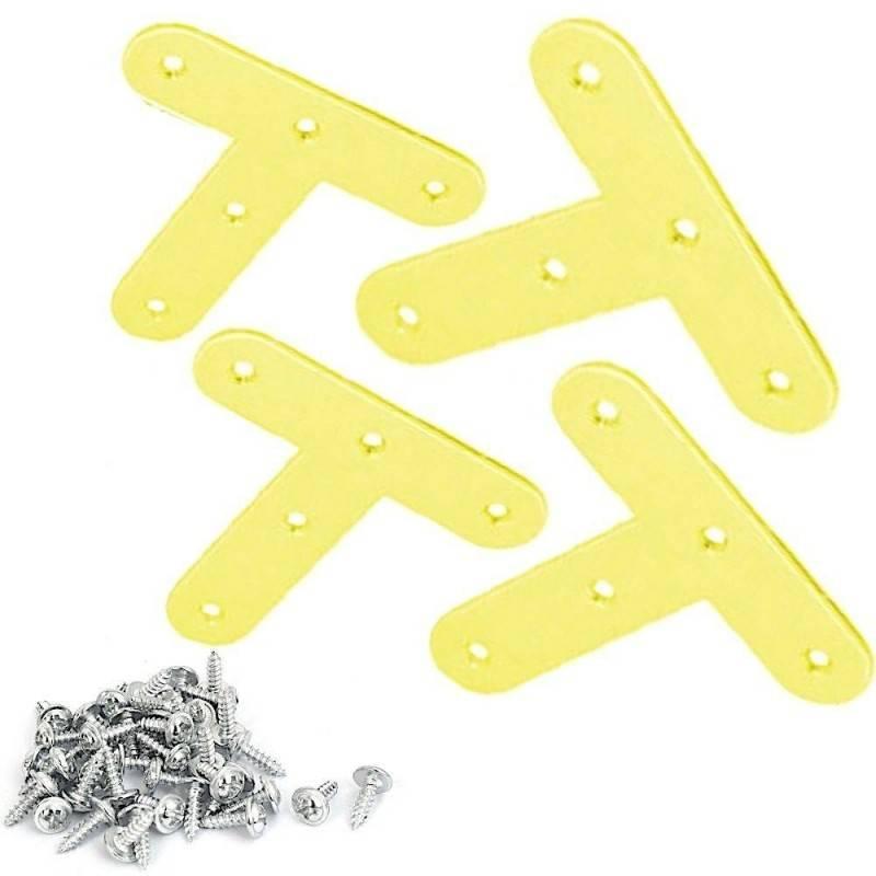 12x Staffe T fai da te mensole acciaio fissaggio viti incluse legno 40 x 20 mm