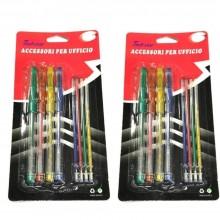 8 penne a sfera ricariche rossa gialla verde celeste casa astuccio scuola penna