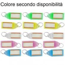 18 Portachiavi rettangoli etichetta identificativa plastica colorati anelli nome