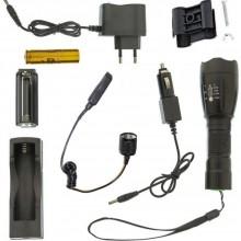 Torcia tattica 80000W militare luce alluminio LED polizia nera batteria