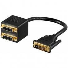 Cavo DVI maschio doppio DVI femmina video nero splitter sdoppiatore cavi TV PC