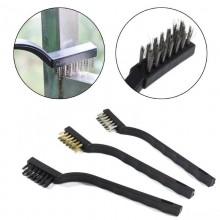Kit 3 spazzole grandi ferro spazzolini metallo ferro ottone rimozione ruggine
