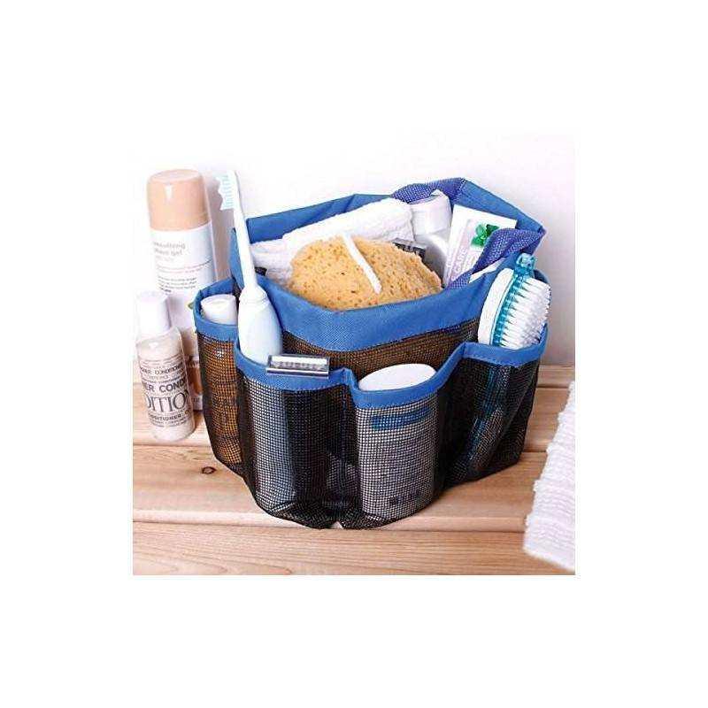 Borsa organizer da bagno 8 tasche da viaggio multitasche shower caddy con rete traspirante.