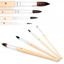 2 kit 4 pennelli pittura punta fina manico in legno artisti acquerelli pennello