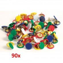 90x Puntine disegno metalliche colorate bacheche fogli annunci legno affissioni