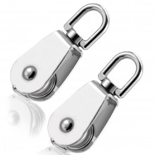 2x Mini pulegge carrucole 20mm girevoli acciaio carrucola tendine lucidi ganci