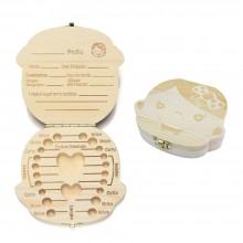 Box legno porta dentini da latte per maschio e femmina denti bambini cofanetto