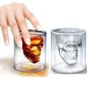 2 X Bicchiere in vetro per shot cicchetto liquore con sagoma di teschio modello in vetro da 74 ml - 2 pezzi
