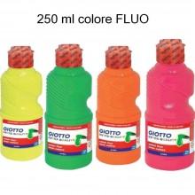 2x Tempera pronta GIOTTO 250 ml colore intenso FLUO liquida bambini scuola gioco
