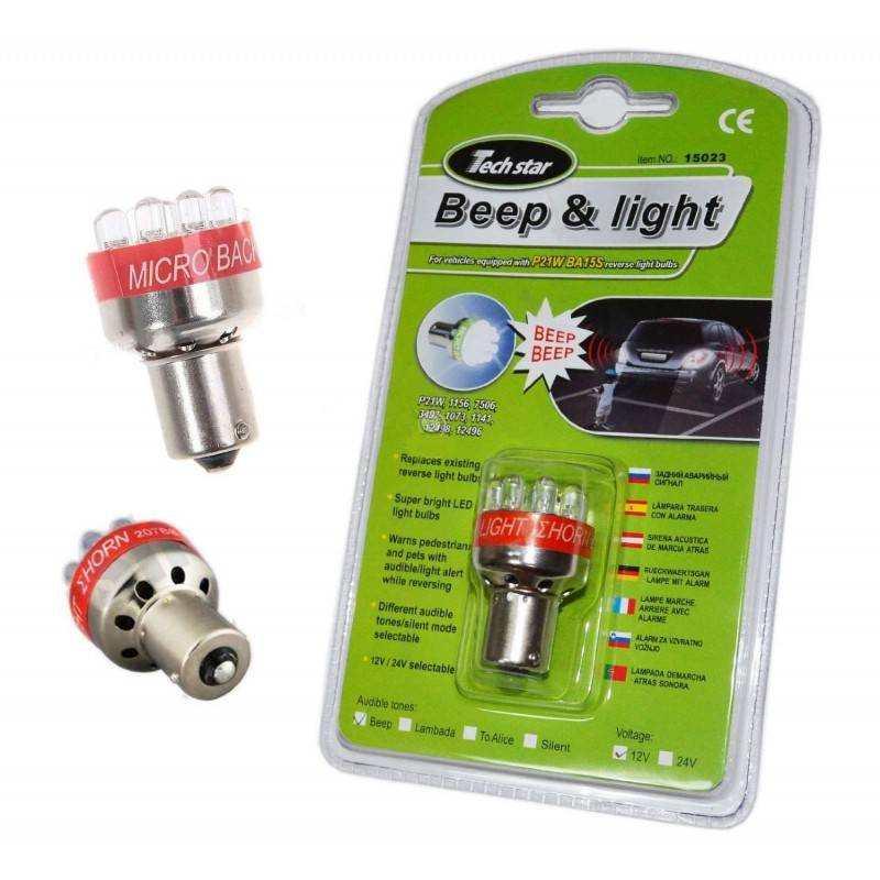 2 x Luce 9 a Led Retromarcia Beep Allarme Sonoro Acustico per Auto Camion P21W BA15S