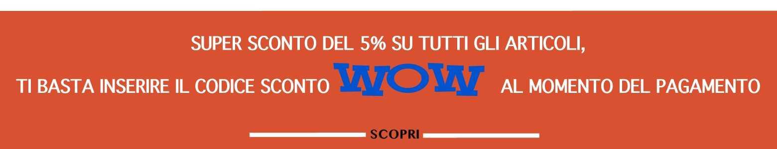 Goditi uno sconto del 5% su tutto l'inventario DOBO.it con il codice sconto WOW
